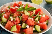 Block watermelon basil salad