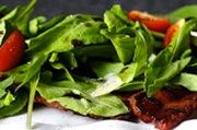 Block bacon and arugula salad